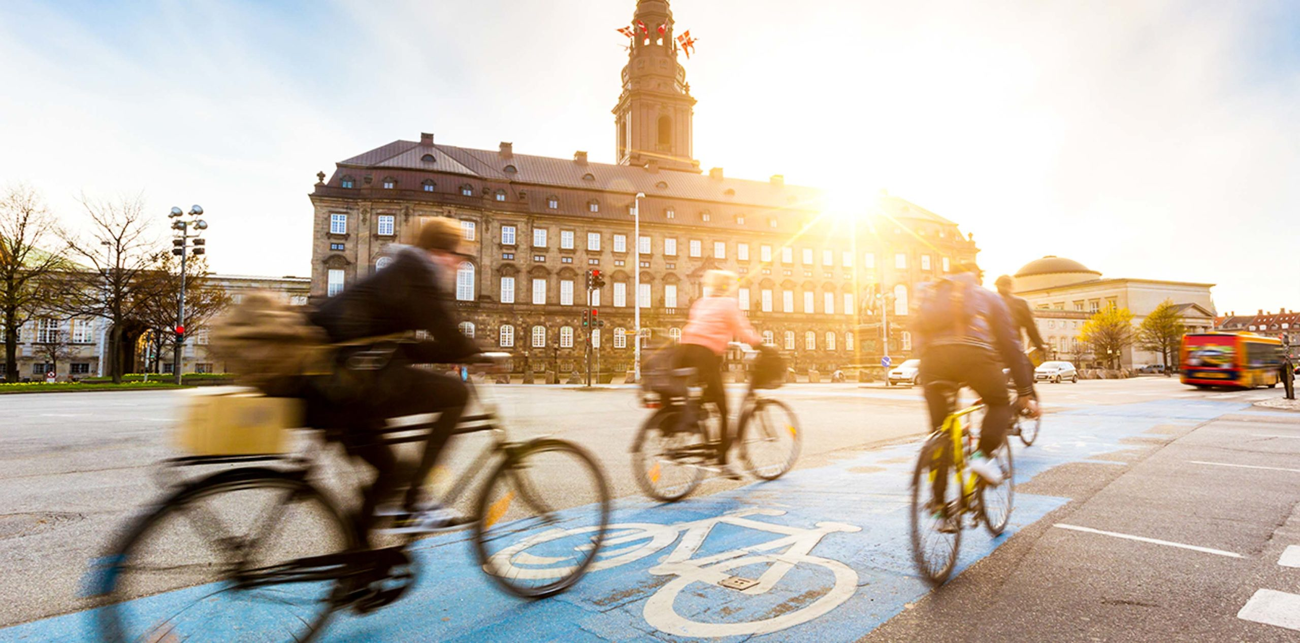 Travelers bike on Copenhagen street bike lane