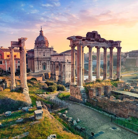 Ruins in Rome, Italy at sunrise
