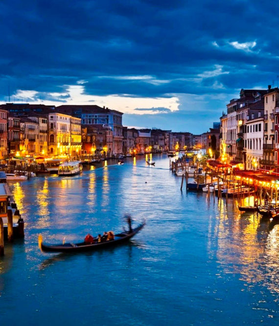 View across the Grand Canal in Venice at evening